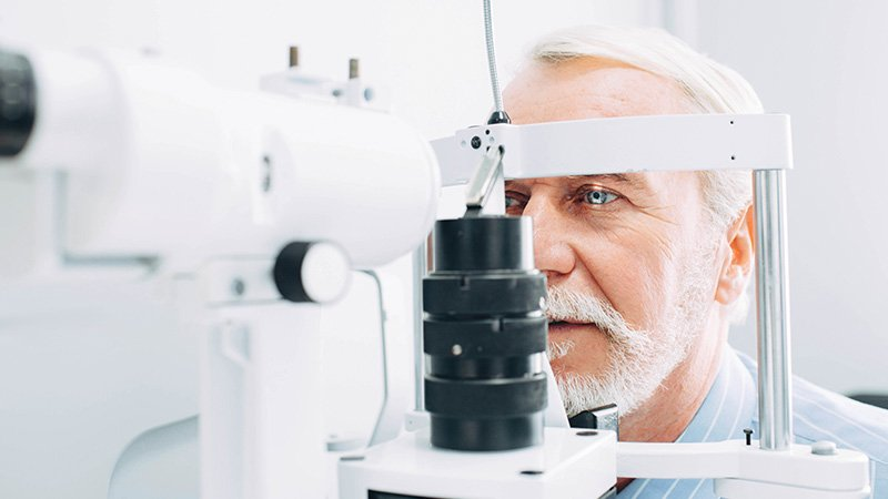 man at optometrist