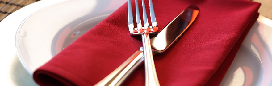 silverware on napkin