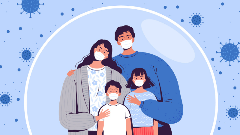 a graphic with a family wearing masks
