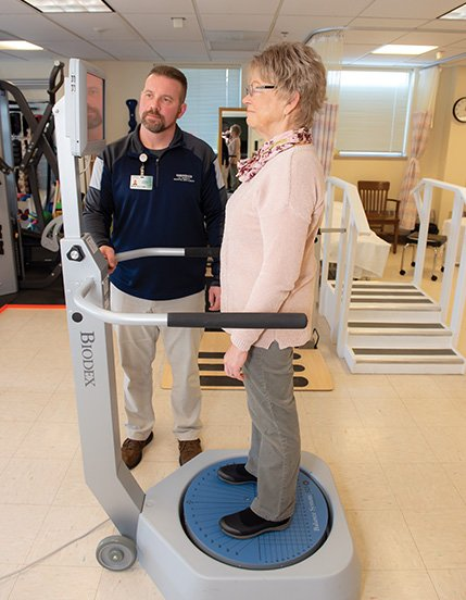 Diane Field undergoes vestibular rehabilitation with