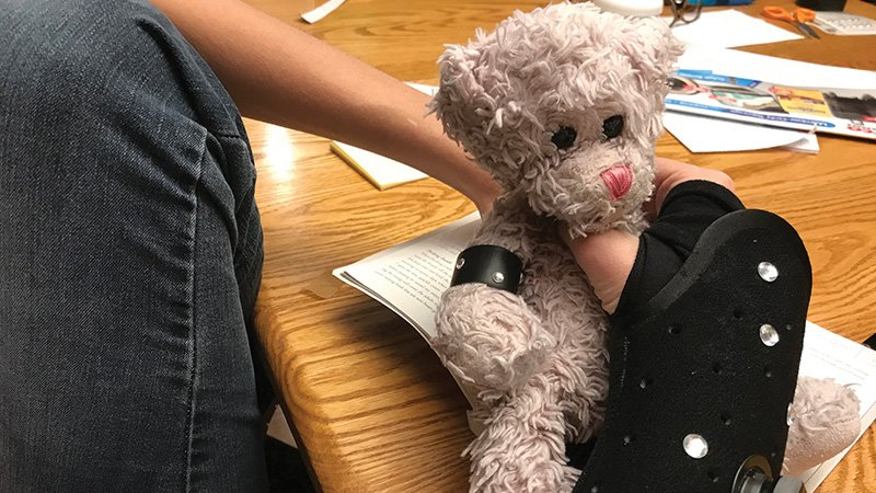 teddy bear with cast