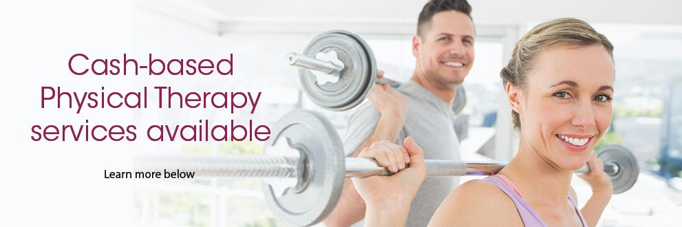 cash-based physical therapy services available. Man and woman smiling while lifting weights