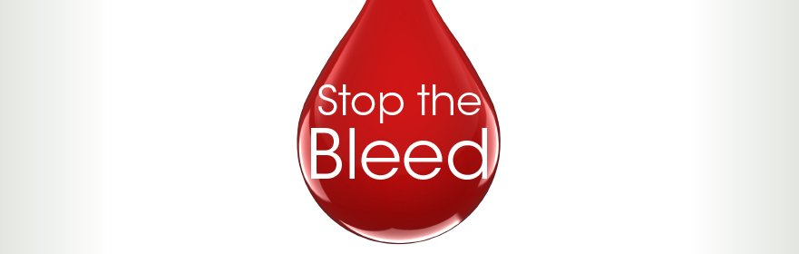 drop of blod with Stop the Bleed on it
