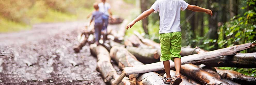 kids walking along tree trunks