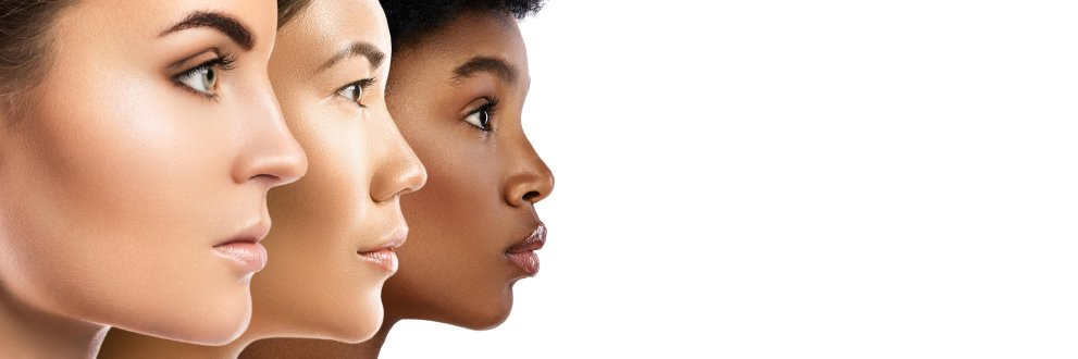 side view of 3 women's faces of different ethnicities