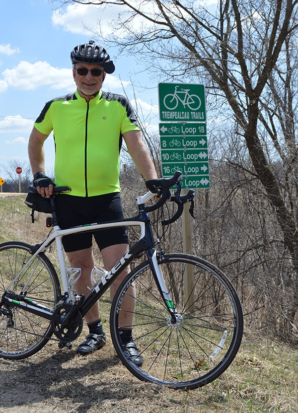 physician assistant Mark Zellmer, Gundersen Tri-County Hospital and Clinics with his bike