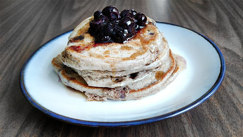 blueberry wheat pancakes with blueberry syrup recipe