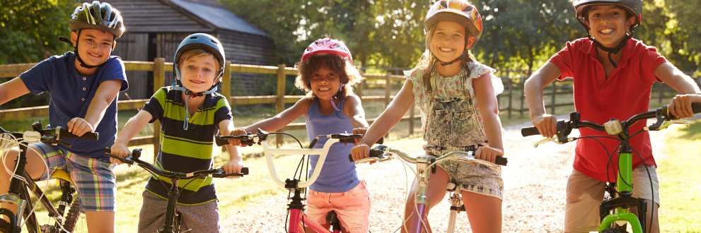 here's how to get kids moving-kids riding bikes