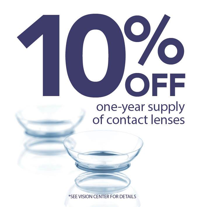 Contact lenses 10 percent off at Gundersen Eye Clinics